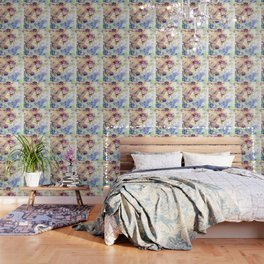 Stenciled Flowers Wallpaper