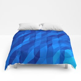 Blue Polygon v1 Comforters