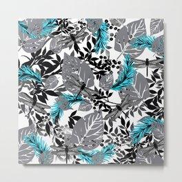 PALM LEAF DRAGONFLY BLUE FERN TOILE Metal Print