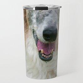 borzoi on a grass Travel Mug