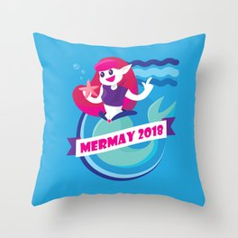 Cute Mermay Mermaid Art Challange Throw Pillow