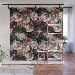 Vintage & Shabby chic - dark retro floral roses pattern Wall Mural