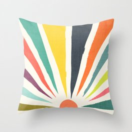Rainbow ray Throw Pillow