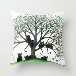 Borders Whimsical Cats in Tree Throw Pillow