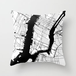 New York City Minimal Map Throw Pillow