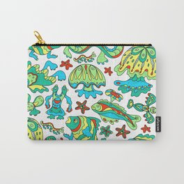 A pattern of fancy bizarre sea creatures. Style Doodle. Vector illustration. Carry-All Pouch