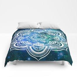 Mandala : Blue Green Galaxy Comforters