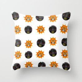 Angry Sun & Moon Throw Pillow