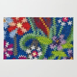 Starry Floral Felted Wool, Blue Rug