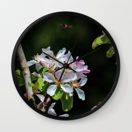 Pollinating Bee visiting the flowers Wall Clock