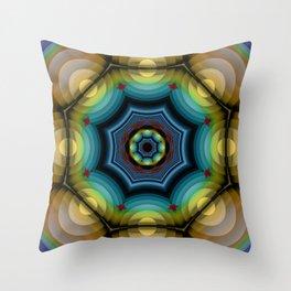 big dots fractal madala Throw Pillow