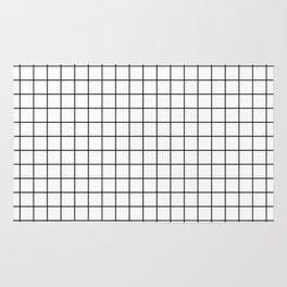 Geometric Black and White Grid Print Rug