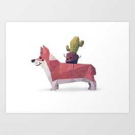 Cactus on Corgie Art Print