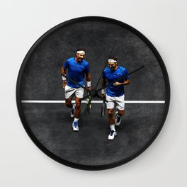 Nadal and Federer Doubles Wall Clock