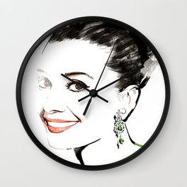 Classical Beauty, Fashion Painting, Fashion IIlustration, Vogue Portrait, Black and White, #13 Wall Clock