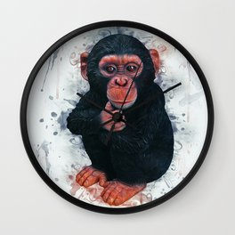 Chimpanzee Art Wall Clock