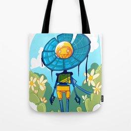 Flower Robot Tote Bag