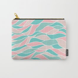 Pastel pink green abstract geometric waves pattern Carry-All Pouch