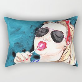 Girl With a Candy Rectangular Pillow