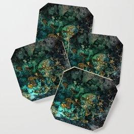 Gold Indigo Malachite Marble Coaster