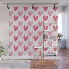 Blush pink white stripes heart mother's day typography Wall Mural