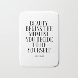 Girls Quote Beauty Begins Fashion Wall Art FASHIONISTA Poster Home Decor Quote Bath Mat