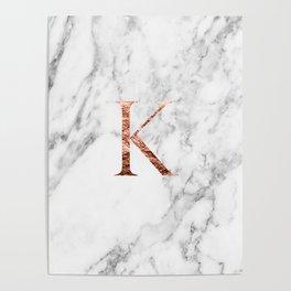 Monogram rose gold marble K Poster