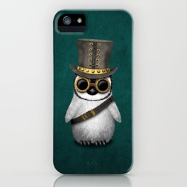 Steampunk Baby Penguin on Blue iPhone Case
