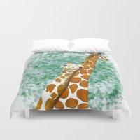 giraffes Duvet Covers featuring giraffes by Isabel Sobregrau