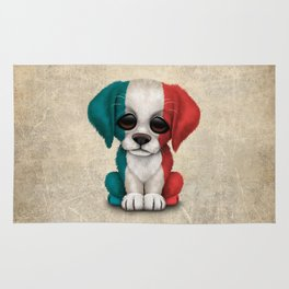 Cute Puppy Dog with flag of France Rug