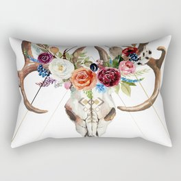 Geometric tribal floral bull skull Rectangular Pillow