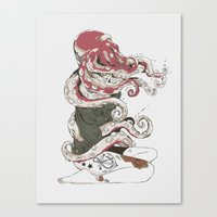 lady gaga Canvas Prints featuring My head is an octopus by Huebucket