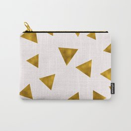 Soft Pink And Rustic Gold Triangles Carry-All Pouch