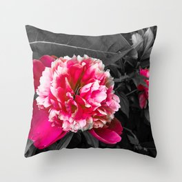 Paeony pink black and white Throw Pillow