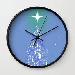 Blue Christmas Tree Wall Clock