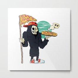 Pizza delivery reaper grim Metal Print