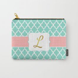 "Mint Moroccan Geometric Quatrefoil Print + Coral Accent and Faux Gold Foil ""L"" Monogram Carry-All Pouch"