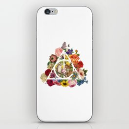 Floral Deathly Hallows Owl and Stag - White iPhone Skin