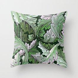 Art Nouveau William Morris Green Acanthus Leaves Throw Pillow