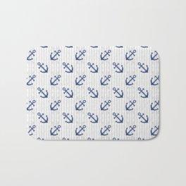 Navy Blue Anchor Pattern Bath Mat