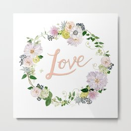 Love Pink Flower Wreath Metal Print
