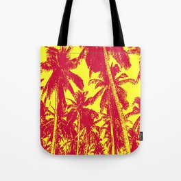 Palm Trees Design in Red and Yellow Tote Bag