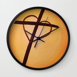 Heart Cross on Orange Wall Clock