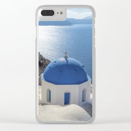 Santorini Island with churches and sea view in Greece Clear iPhone Case