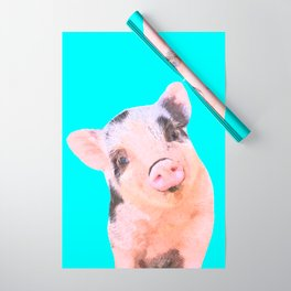 Baby Pig Turquoise Background Wrapping Paper