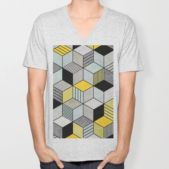 Colorful Concrete Cubes 2 - Yellow, Blue, Grey Unisex V-Neck