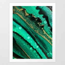 Malachite inspired alcohol ink painting with flecks of gold and hints of black and emerald green Art Print