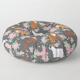 Boxer florals floral pattern dog portrait pet friendly dog breeds boxers Floor Pillow