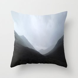 Back in the crouching mountains... Glencoe, Scotland Throw Pillow