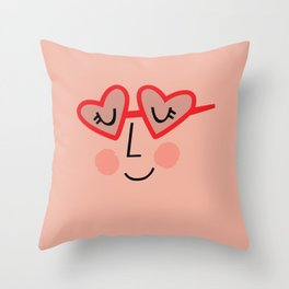 Heart Sunnies Face in Peach Throw Pillow